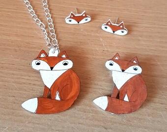 Fox jewellery set, Brooch, Necklace, Earrings, Jewellery, Foxy lady, woodland, girl jewelry, woman, lady