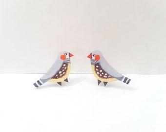 Zebra Finch, Bird Earrings, Studs, Hand painted, Bird Jewellery, Jewelry