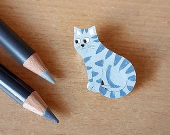 Tabby Cat Brooch, Jewellery, Illustration, Badge, pin, cat lovers, cat lady, grey, girl jewelry, woman, lady