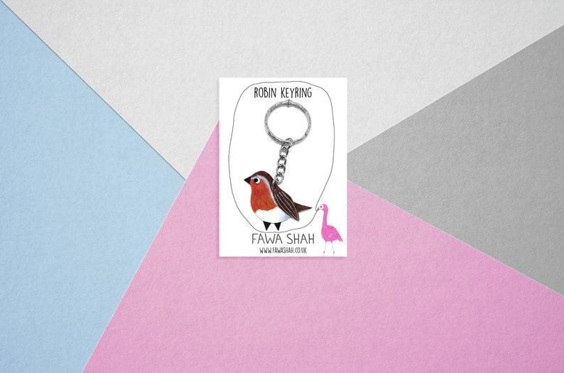 Robin Bird Keyring  Handpainted  Keychain  Robin image 0