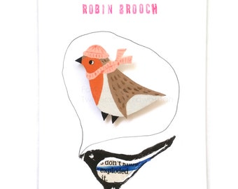 Robin Brooch, Handmade Jewellery, Bird Brooch, Jewellery, Jewelry, Badge, Pin, Dark Brown, Light orange, Light Grey