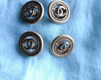 Authentic CHANEL Buttons, Set of 4, Brass Color, Double C