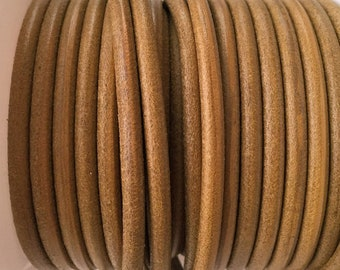"""Per 24""""  4.5mm Round Leather Cord, Distressed Olive Green leather cord"""
