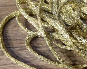 "4 Strands, 21"" each 4mm flat gold metallic cotton cord"