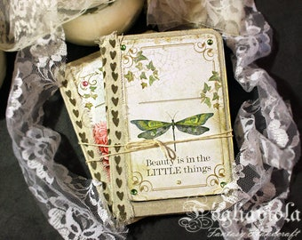 LITTLE Things notebook Dragonfly Diary Peony Flower journal Jane Austen romantic Sketchbook shabby blank book Garden Love Ivy Gift for her