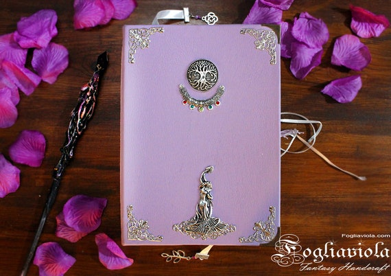 PURPLE Grimoire Book of Shadows Violet Witch Journal Enchanted Diary gift for her Christmas wedding favor Fogliaviola handmade magic style