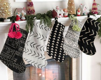 Mud Cloth Christmas Stocking Mudcloth Stocking White w/ Black Triangle Print