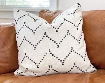 White Mud Cloth Pillows