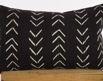 Maxwell 12x24 Inch Black and White African Mud Cloth Pillow Cover