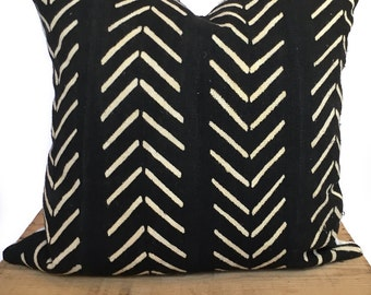 Catherine Mud Cloth Pillow Cover Black and White  Boho African Mudcloth Throw Pillow