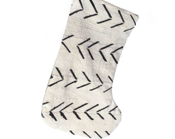 Mud Cloth Christmas Stocking Mudcloth Stocking White w/ Black Arrow Print