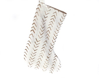 Mud Cloth Christmas Stocking Mudcloth Stocking White w/ Amber Arrow Print