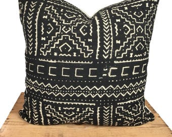 """Colleen Black and White African Mud Cloth Pillow Cover 18"""" Mudcloth Pillow."""