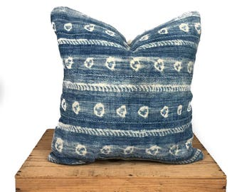 Indigo Mudcloth Pillow Cover   Vintage Indigo Mudcloth Pillow   Shibori Mud Cloth Pillows   One Fine Nest
