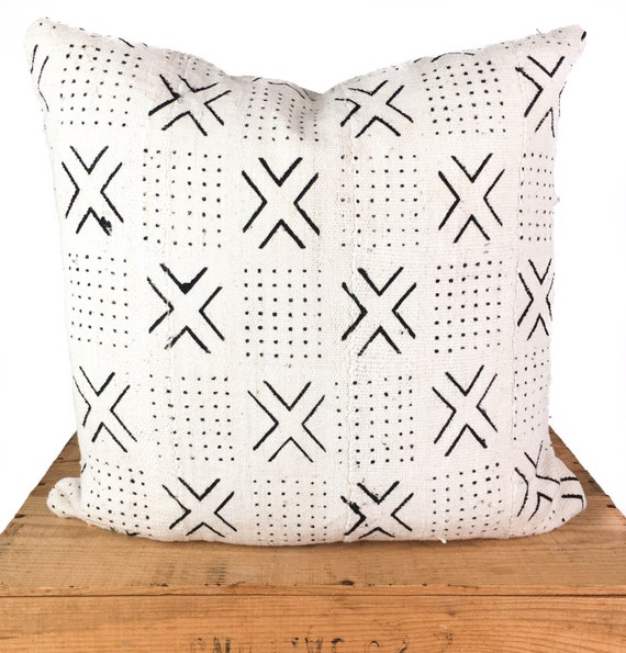 40 Inch White African Mud Cloth Pillow Cover Mudcloth Etsy Amazing 24 Inch Pillow Cover