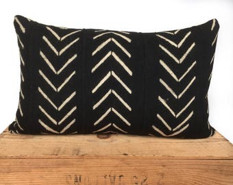"""Catherine Mud Cloth Pillow Cover Black and White Mudcloth Pillow 12x20"""""""