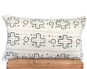 16x26 Inch White African Mud Cloth Pillow Cover