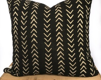 18 Inch Black and White African Mud Cloth Pillow Cover Mudcloth Pillow