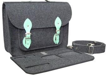 Color : Grey, Size : 17inch ALLCIAA Computer Bag Mens Handbag Shoulder Black and Grey 17inch