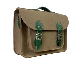 3806494a25 Feutre cartable, sacoche pour l'école de travail sac beige vert cuir