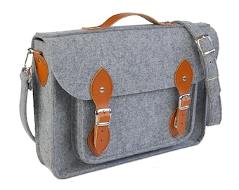 Laptop bag 15 inch with pocket, felt satchel, Macbook Pro 15 in, Custom size Laptop bag, sleeve, case, with leather