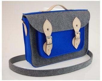 Felt Laptop 15 inch bag with pocket, satchel, Macbook Pro 15 in, Custom size Laptop bag, case, with leather straps