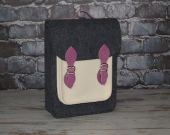 "Vertical laptop bag 15inch with pocket,felt satchel,Macbook Pro 15"",Custom size Laptop bag,sleeve,case,with leather"