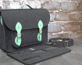 Felt Laptop bag 15 inch with pocket, satchel, Macbook Pro 15 in,Custom size Laptop bag, case, mint leather straps