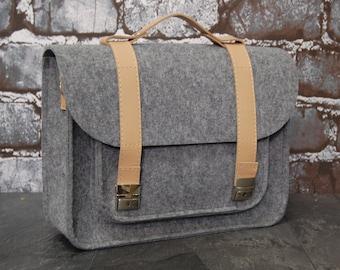 Felt laptop bag 15 MacBook Pro satchel briefcase Computer bag with pocket felt with leather