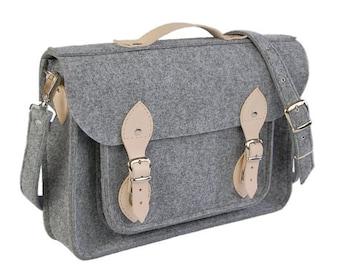 Felt Laptop bag 15 inch with pocket, satchel, Macbook Pro 15 in, Custom size Laptop bag, sleeve, case,