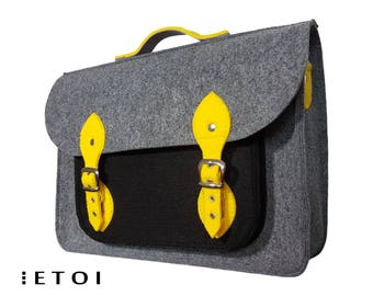Felt laptop bag, felt bag, black and gray messenger bag, briefcase, laptop case, cross body bag, cutwork,  handbag