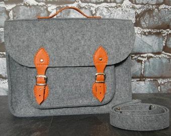 Felt Laptop bag 15 inch with pocket, satchel, Macbook Pro 15in, Custom size Laptop bag,sleeve, case, orange leather