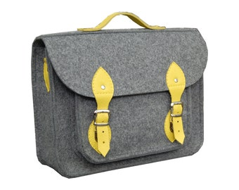 15 MacBook Pro bag with a pocket, laptop bag, satchel grey with yellow briefcase