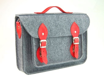 Felt Laptop bag 15 inch with pocket, satchel, Macbook Pro 15 in, Custom size Laptop bag, sleeve, case, with leather