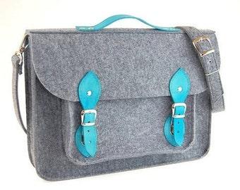 Felt Laptop bag 15 inch with pocket, satchel, Macbook Pro 15 in,Custom size Laptop bag,sleeve, case, leather straps