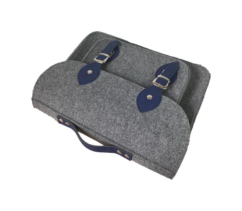 Felt laptop bag with navy blue leather messneger bag with adjustable shoulder strap