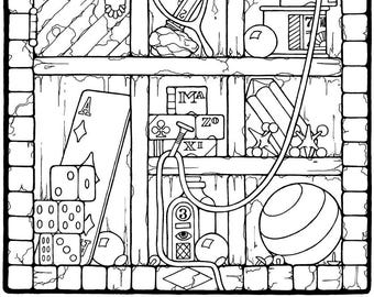 """Fantasy coloring page, """"Shadowbox"""" by Stephen Barnwell"""