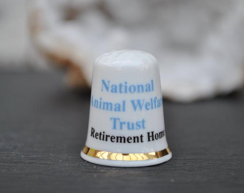 Vintage china thimble National Animal Welfare Trust Retirement Home