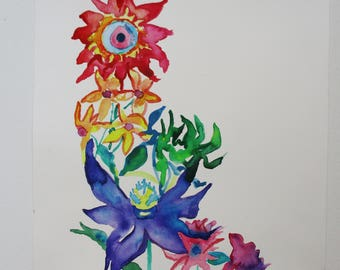 Wildflower watercolor painting, Original watercolor painting, wildflowers