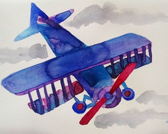 Airplane watercolor painting, original painting, boy room art, boy nursery wall art
