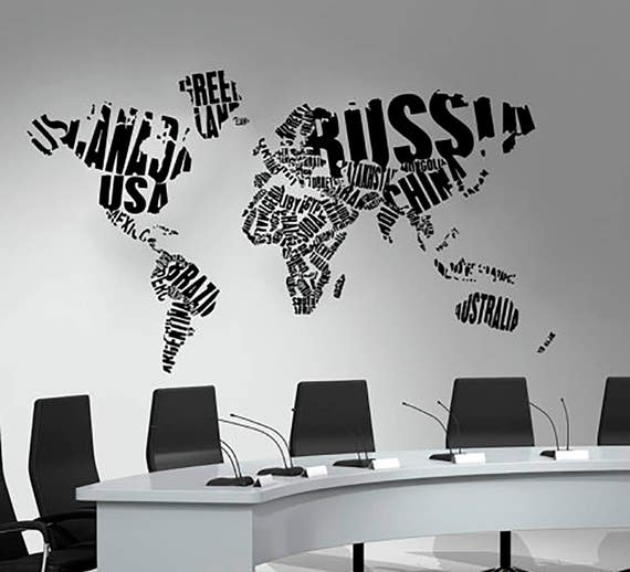 World map wall decals country words vinyl sticker decal gumiabroncs Image collections