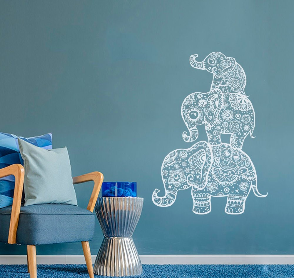 Elephant Wall Decal Indian Boho Bedding Yoga Studio Decor | Etsy