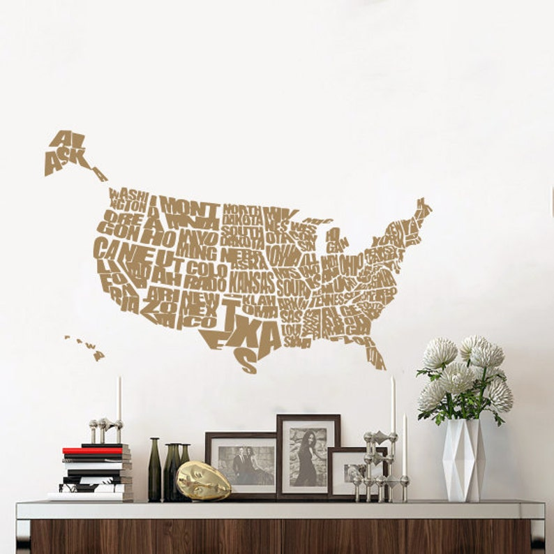 United States Map Wall Decal World Map Continents Vinyl | Etsy