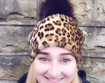 Leopard Print Faux Fur Pom Pom Hat-Fully Lined with Polar Fleece-Pom Pom-Fake Fur Hat-Cream Hat-Ladies Winter Hat-Fleece Hat-Animal Print