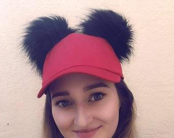 Fabulous Fluffy Pom Pom Baseball Cap- Red baseball Cap