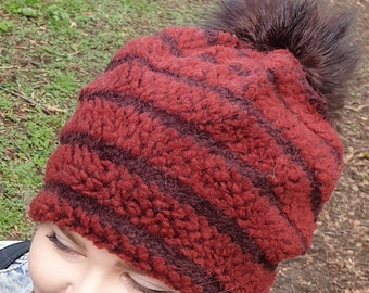 Burgundy Fleece Slouchy Hat with Large Chocolate Brown Pom Pom.Fully lined with Polar Fleece