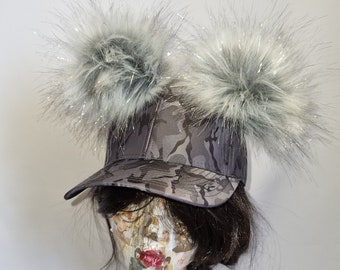 Silver Grey Camouflage Baseball Cap with Pom Poms-Pom Pom Hat-Double Pom Pom Hat-Camo Baseball Cap