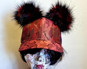 Red Camouflage Baseball Cap with Pom Poms-Pom Pom Hat-Double Pom Pom Hat-Camo Baseball Cap