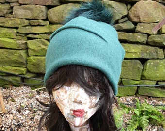 Forest Green Wool Blend Slouchy Hat with Large Green Pom Pom. Fully lined with Polar Fleece