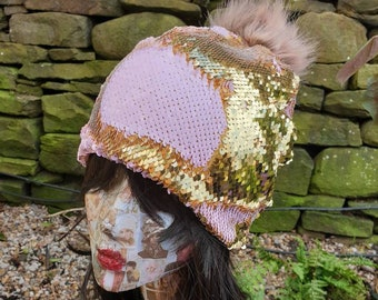 Flip Sequin PomPom Hat in Gold/Baby Pink-Polar Fleece Lining-Reversible Sequins-Mermaid Fabric-Fake Fur-Pom Pom-Sequins-Faux Fur